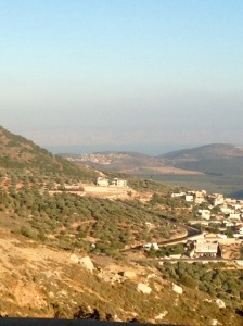 Coming down the mountain, you can see Lake Kinneret (Sea of Galillee) in the distance