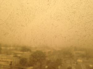 View of Karmiel from my classroom. Dust storm of 2015: Day1