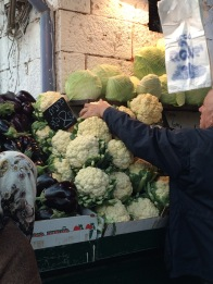 The produce here is huge and gorgeous. And these cabbages are flat, disc shaped wonders.