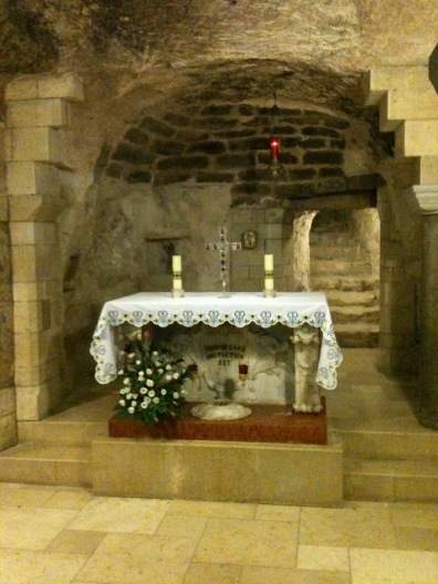 Mary's home with altar in front