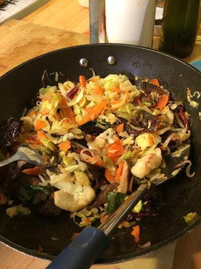 Veggie stir fry with Shitake mushrooms and chimmichuri tehineh