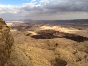 View into the crater into the desert