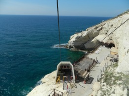 Riding the cable car down to the grottoes below (see first post, 4/15)