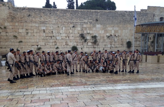 ISF troops gather at the Kotel