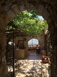 Dramatic entrance into romantic wine tasting room and open-air restaurant