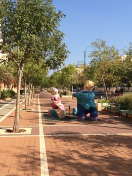 Whimsical sculptures line the streets of Rabin neighborhood